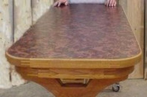 Custom Made Mobile Rolling Counter Top Height Table In Red Oak