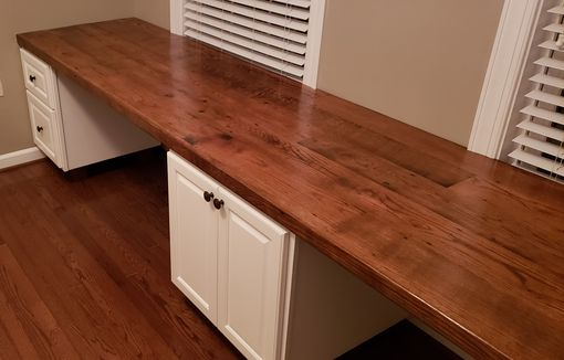 Custom Made Built In Reclaimed Oak Work Station