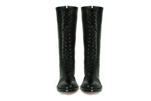 Custom Made Hesse Tall Balmoral Boots, Black Leather Lineman Goodyear Welted Boots. (All Sizes)