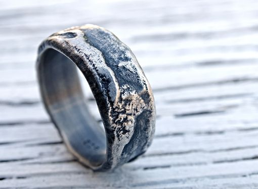 molten silver ring richly structured unique mens ring alternative wedding band silver - Mens Unique Wedding Ring