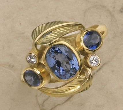 Custom Made Sapphire, Diamond And Leaf Ring