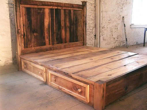Buy Hand Crafted Reclaimed Rustic Pine Platform Bed With