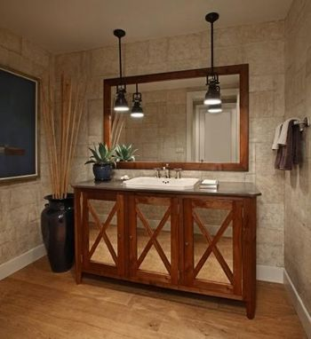 Custom Made Black Walnut Sink Base W/ Mirror
