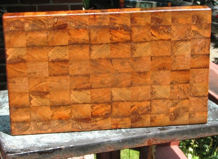 handmade patchwork mixed wood end grain chopping board