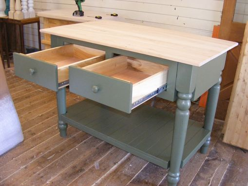 Custom Made Olive Handcrafted Kitchen Island Solid Maple Top