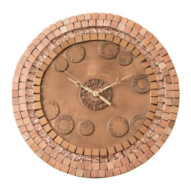 Custom Made Tessera Saturn Glass, Stone And Copper Mosaic Wall Clock, Metal, Large, Silent Non Ticking