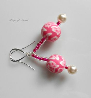 Custom Made Sold Out Earrings Hot Party Pink And White Fimo Clay Beads With White Pearls And Silver