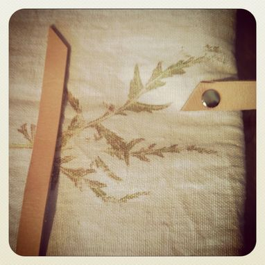 Custom Made Japanese Maple Leaf Printed Organic Linen With Heavy Metal Zipper And Rivets