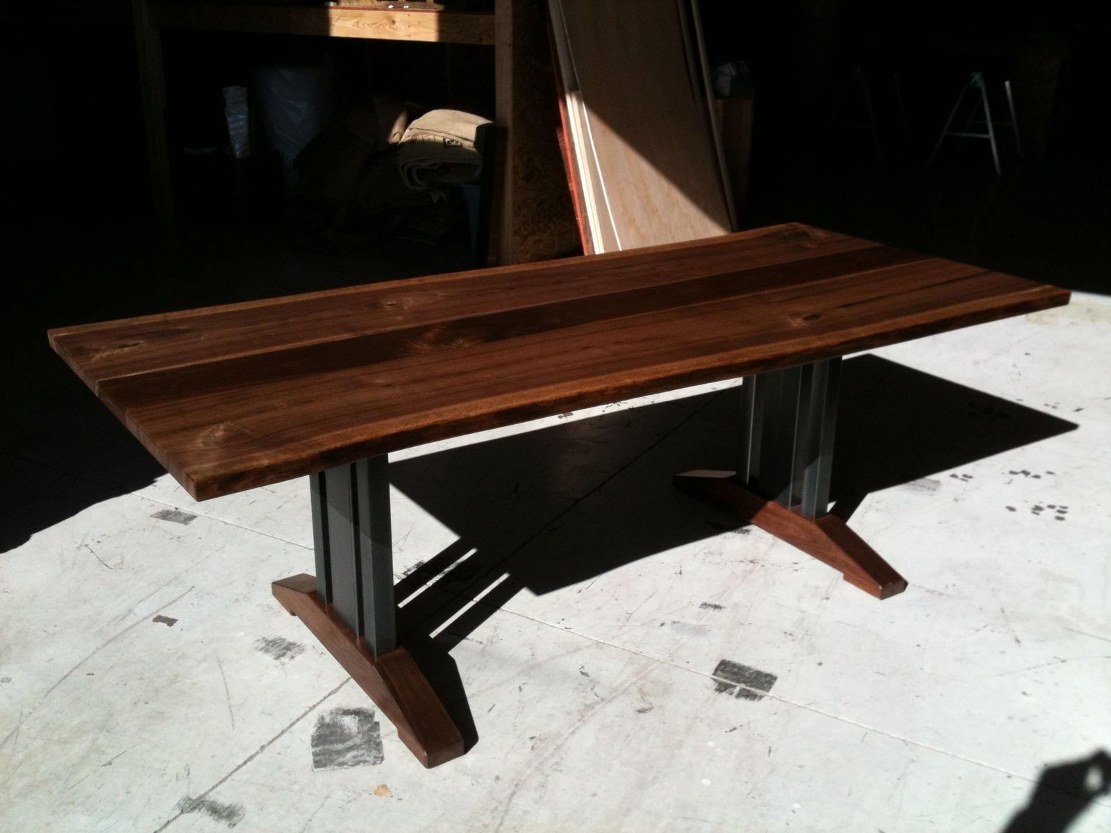 Walnut live edge dining table - Live Edge Walnut Dining Table Tressel Legs
