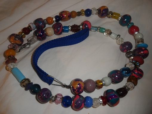 Custom Made 42 Inch Beaded Dog Leash W/Handmade Polymer Clay, Glass Beads