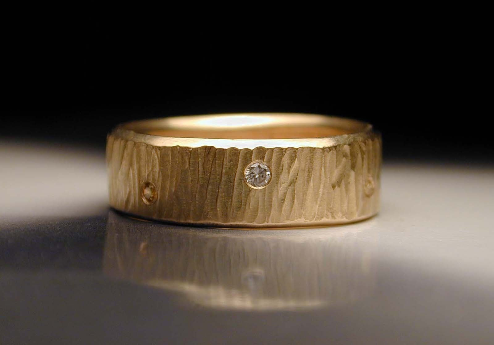 Custom Made Men S Or Women Hand Textured Wedding Rings