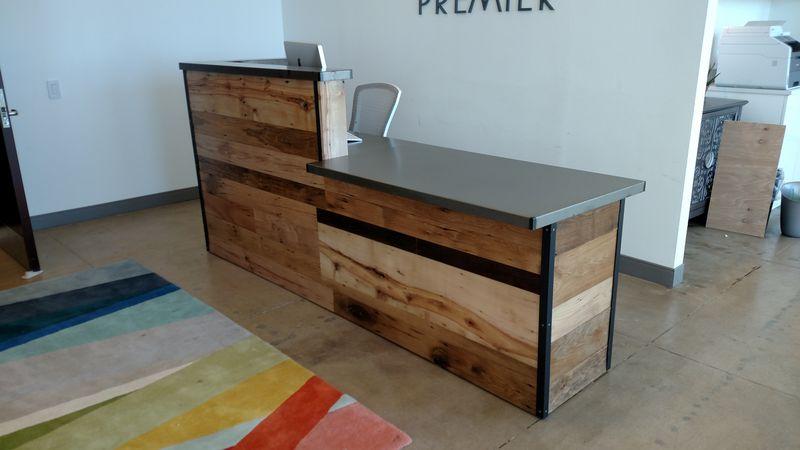 Handmade Reclaimed Wood Steel Reception Desk By Re Dwell Custommade Com