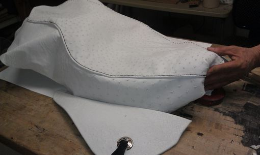 Custom Made Genuine Ostrich Skin Motorcycle Seat Cover
