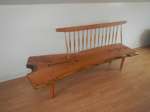 Custom Made Conoid Bench - George Nakashima Style Mid Century Modern Bench With Live Edge Seat