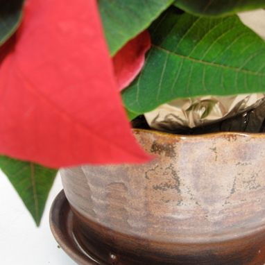 Custom Made Small Pottery Planter In Bronze With Attached Saucer