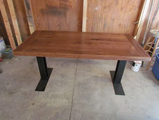 Custom Made Small Walnut And Steel Dining Table