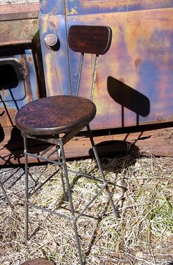 Custom Made Reclaimed Douglas Fir Swivel Bar Stools With Rebar Legs And Back Rest