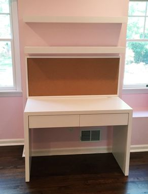Custom Made Desk With Bulletin Board And Floating Shelves