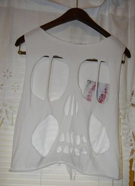 Custom Made Hand Painted Faux Galaxy Pocket On White Tie T-Shirt With Skull Cut Out Back