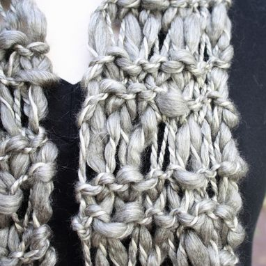 Custom Made Knit Scarf Steel Gray Grey Wool Blend Thick Thin Warm