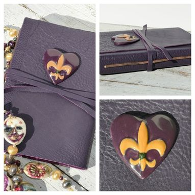 Custom Made Custom Handmade Leather Bound Mardi Gras Journal