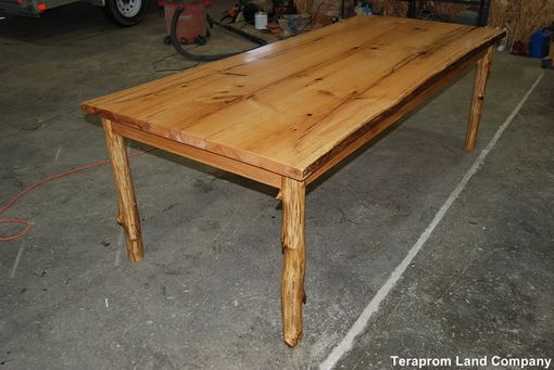 Custom Made Live Edge Oak Table With Sapling Pole Legs
