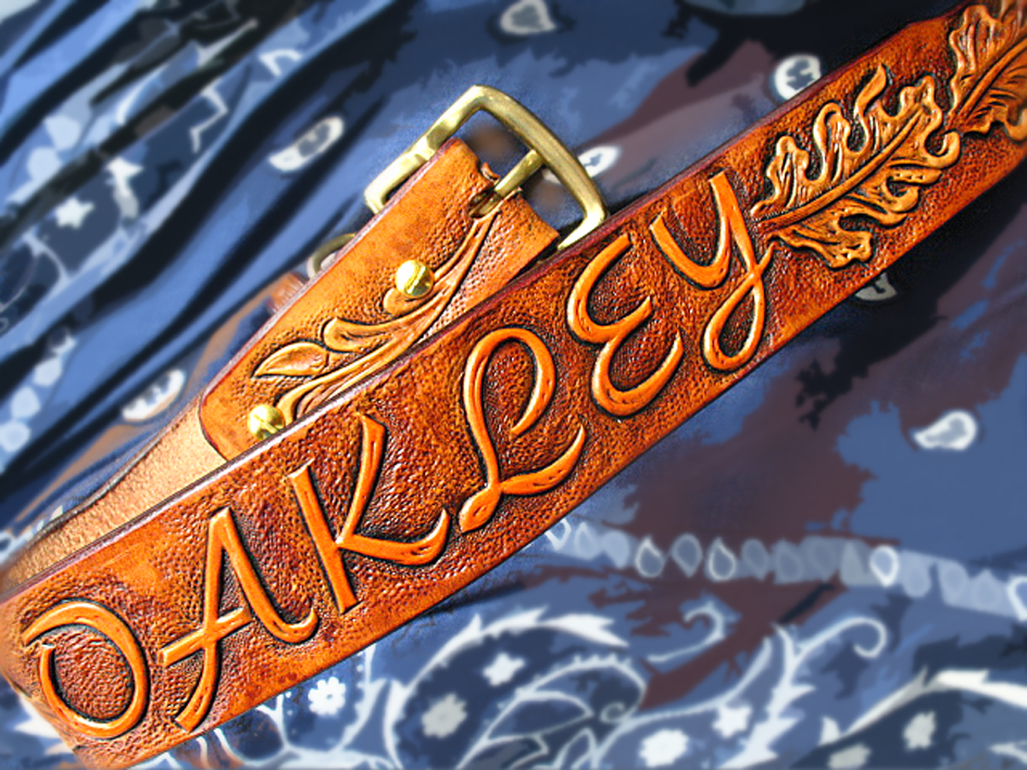 6e30d8d64a42 Tooled Dog Collar Personalized Oak Leaves Leather Hand Tooled-Carved by  Serge Polevoi