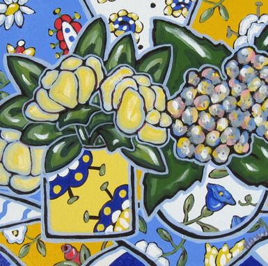Custom Made Acrylic Still Life Painting Original On Canvas, Yellow Tulips