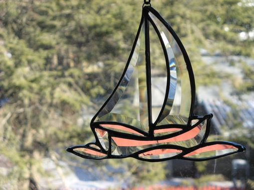 Custom Made Stained Glass Beveled Sailboat On Waves
