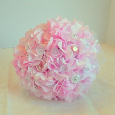 Custom Made Hydrangea And Pink Buttons Bridal Bouquet