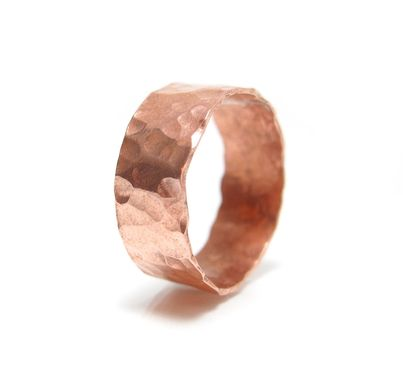 Custom Made Mens Wide Rustic Copper Ring - Cigar Band Ring - Fashion  Copper Ring