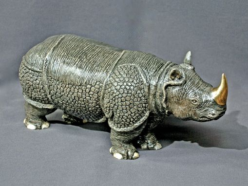 "Custom Made Bronze Rhinoceros ""Indian Rhinoceros"" Asian Rhino Figurine Statue Sculpture Limited Edition Signed"