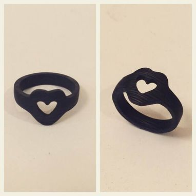 Custom Made Carbon Fiber Ring, Heart