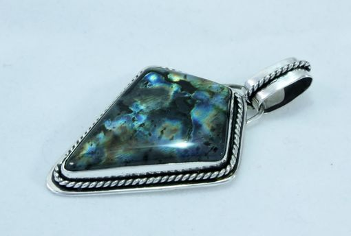 Custom Made Labradorite Pendant In Sterling Silver With Twisted Wire