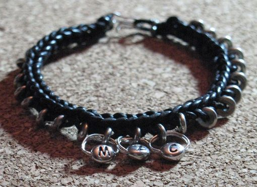 Custom Made Bracelet / Anklet / Men's Bracelet:  Braided Black Leather Cord With Silver Beads