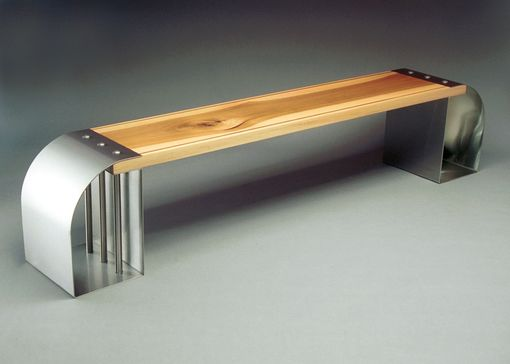Custom Made Artistic Metal And Wood Bench