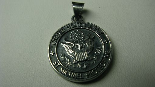 Custom Made Necklace Charm Two Sided Military And Saint Florian