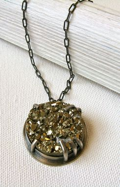 Custom Made Druzy Pyrite And Sterling Industrial Necklace