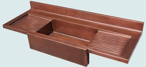 Custom Made Copper Sink With Apron & 2 Ribbed Drainboards