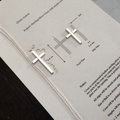 Custom Made Cross, Sterling Silver Hollow Cross Pendant