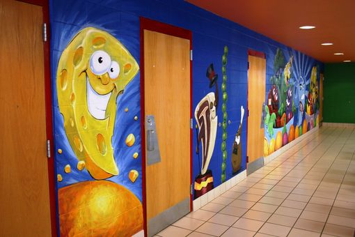 Custom Made Elementary Lunch Room Wall Murals