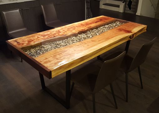 Custom Made Live Edge Redwood River Table
