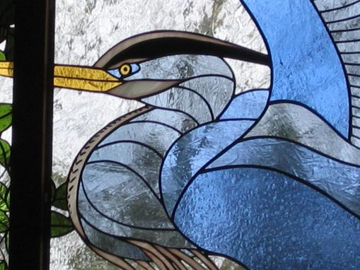 Custom Made Stained Glass Window - Heron In Rosa Rugosa Border