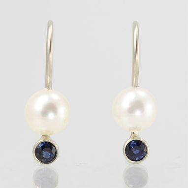 Custom Made White Gold Pearl Drop Earring With Stone (Sapphire) 14kw