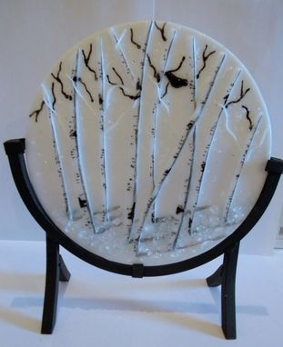 Custom Made Fused Glass Winter Aspen Round Panel 8""