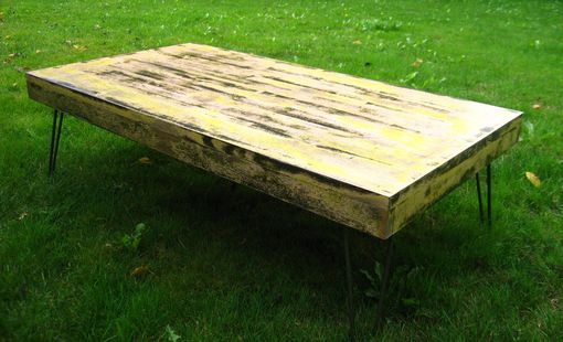 Custom Made Reclaimed Wood Bench With Hairpin Legs