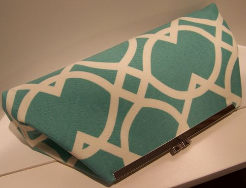 Custom Made Acqua/Green And White Clutch  Free Shipping