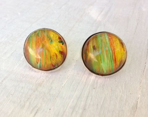 Custom Made Orange Stud Post Earrings