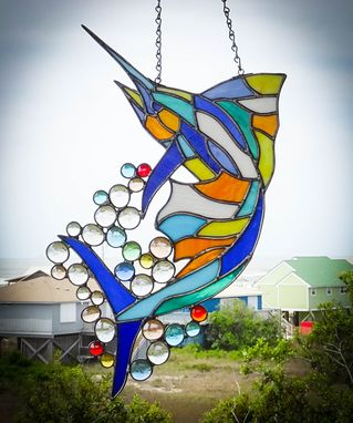 Custom Made Marlin Stained Glass