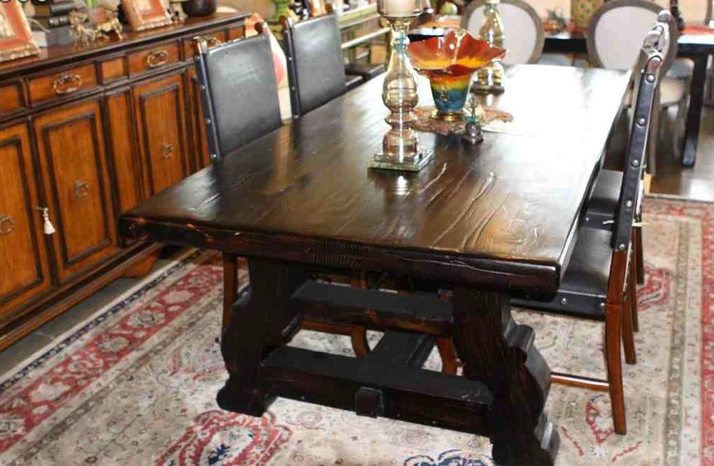 Handmade Spanish Trestle Dining Table In Reclaimed Wood By Mortise Tenon Custom Furniture Custommade